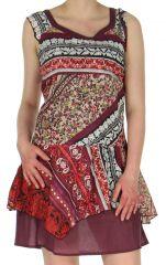 Robe d'été Ethnique et Fantaisie en Voile de coton Aurélia Rouge 283129