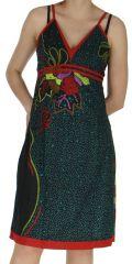 Robe d'été Ethnique et Originale à fines bretelles Liliane Noire 282636