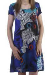 Robe d'été exotique et ultra colorée avec imprimés bleue Anita 296809