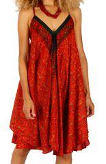 Robe d'été femme chic et idéale cérémonie Bansang orange 314623