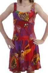 Robe d'été fluide ultra colorés à bretelles rouge Jay 296879
