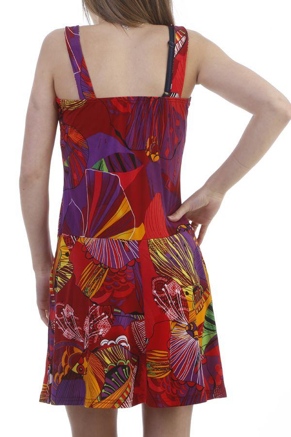 Robe d'été fluide ultra colorés à bretelles rouge Jay 296882