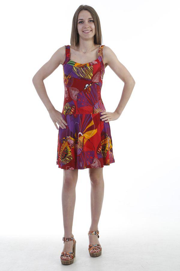 Robe d'été fluide ultra colorés à bretelles rouge Jay 296883