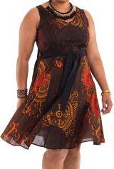 Robe d'été Grande Taille Ethnique et Idéale Cérémonie Suzette Marron 284331