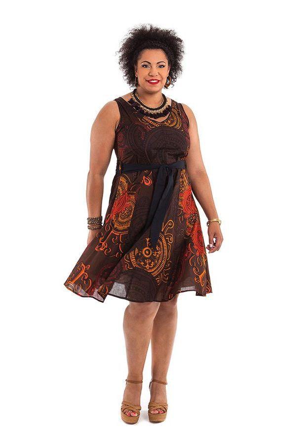 Robe d'été Grande Taille Ethnique et Idéale Cérémonie Suzette Marron 284332
