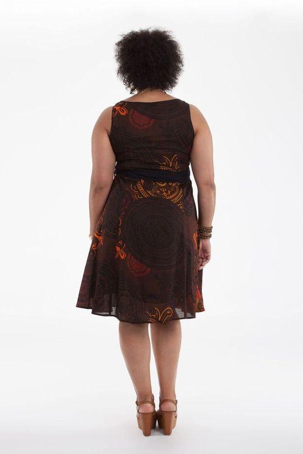 Robe d'été Grande Taille Ethnique et Idéale Cérémonie Suzette Marron 284333