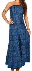 Robe d'été longue bustier Bleue féminine de style ethnique et indien Myriam 298217