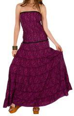 Robe d'été longue bustier Mauve colorée et style ethnique Maelis 298229