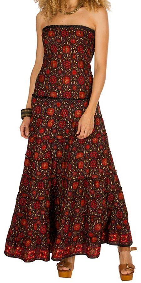 Robe d'été longue bustier Rouge à motifs ethniques et originaux Niamé 298257
