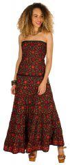 Robe d'été longue bustier Rouge à motifs ethniques et originaux Niamé 298258