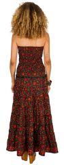 Robe d\'été longue bustier Rouge à motifs ethniques et originaux Niamé