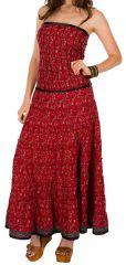 Robe d'été longue bustier Rouge estivale et imprimée ethnique Kayna 298248