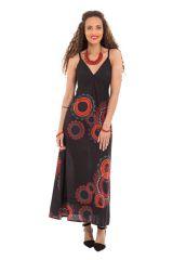 Robe d'été longue Ethnique et Originale imprimée Mandalas Astel Noire 281411