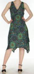 Robe d'été longue imprimée décolletée et asymétrique Noire Sunita 272426