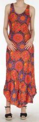 Robe d'été longue imprimée sans manches Orange Sarita 272408