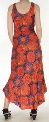 Robe d'été longue imprimée sans manches Orange Sarita 272409