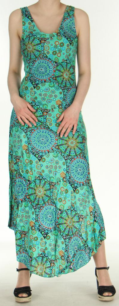 Robe d'été longue imprimée sans manches Verte Sarita 272410