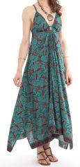 Robe d'été longue Turquoise décolletée Originale et Ethnique Elounda 280816