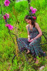 Robe d'été longue Turquoise décolletée Originale et Ethnique Elounda 280817