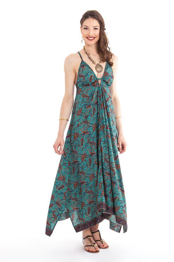 Robe d'été longue Turquoise décolletée Originale et Ethnique Elounda 280818