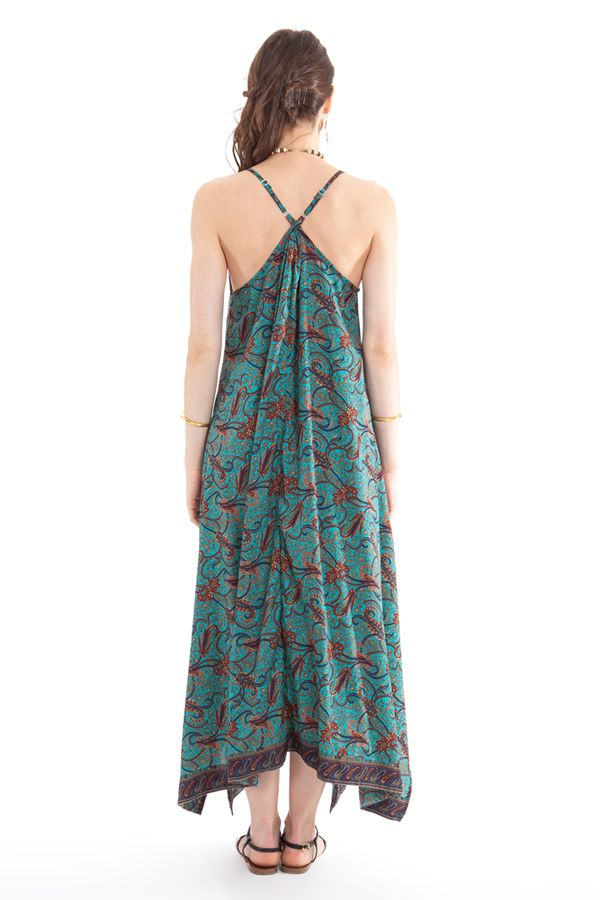 Robe d'été longue Turquoise décolletée Originale et Ethnique Elounda 280819