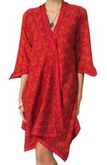 Robe d'été manches 3/4 Ethnique et Asymétrique Elvas Rouge Flashy 284175