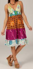 Robe d'été mi-longue à fines bretelles Bohème et Colorée Silves 280365