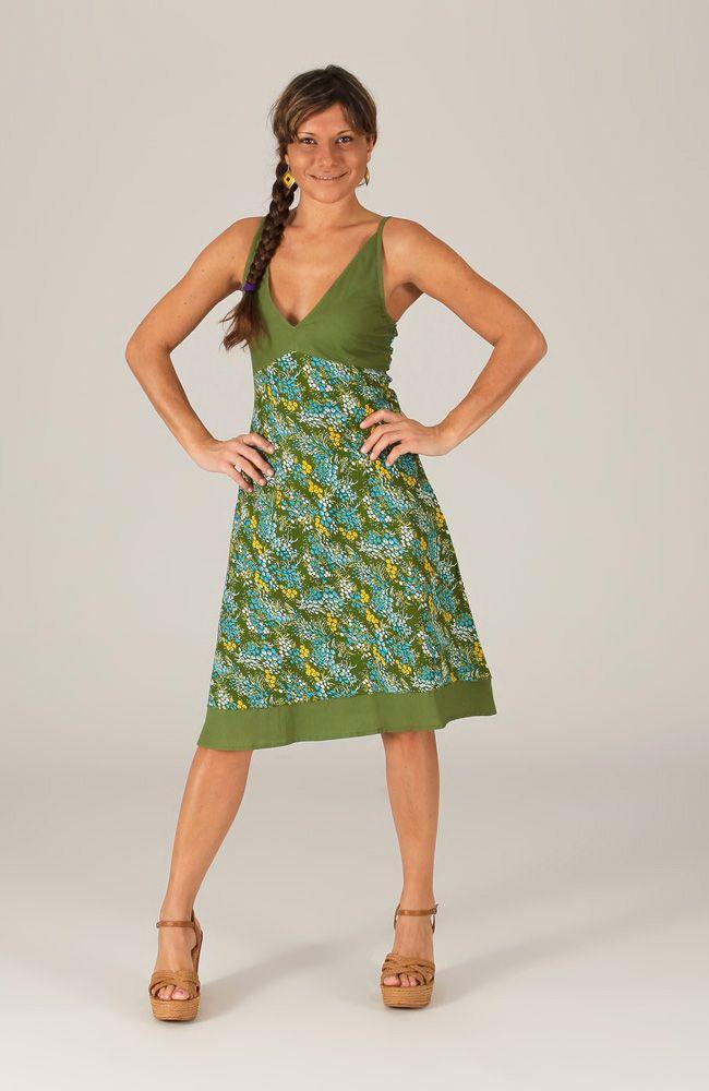 robe d 39 t mi longue col en v ethnique et imprim e banya verte. Black Bedroom Furniture Sets. Home Design Ideas