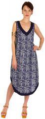 Robe d'été mi-longue débardeur Bleu à col V et imprimés originaux Santana 298267