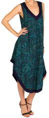 Robe d'été mi-longue débardeur Bleue imprimée et à coupe asymétrique Rosa 298288