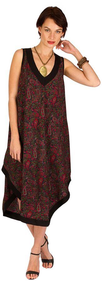 Robe d'été mi-longue débardeur Noir coupe asymétrique et imprimés originaux Julia 298279