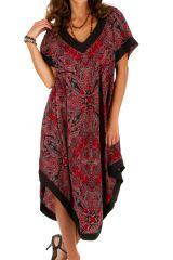 Robe d'été mi-longue éthnique et bohème Yundum rouge 314548