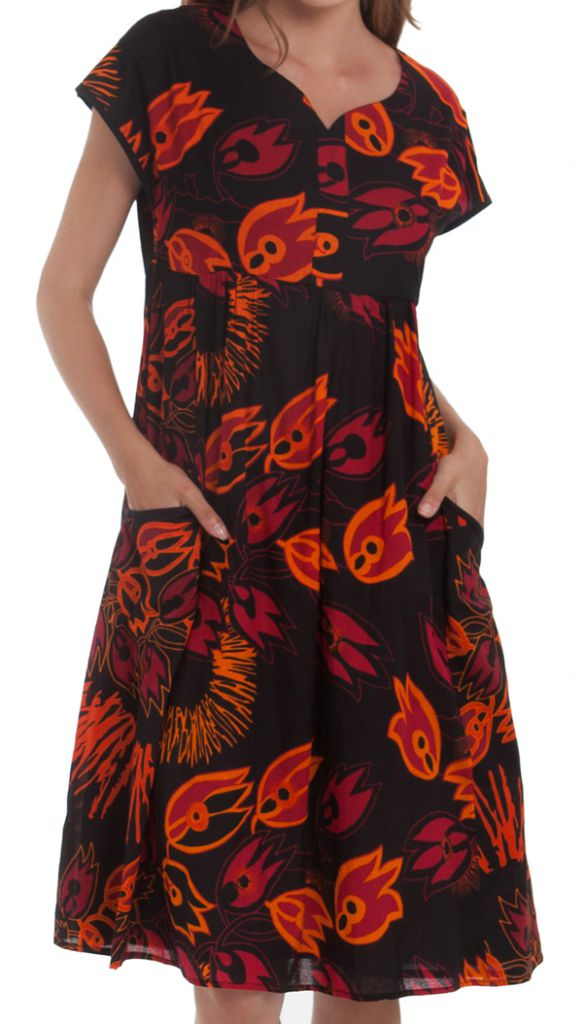 262fb25612 Robe d'été mi-longue Imprimée et Colorée Bétina Noire 281634. Loading zoom