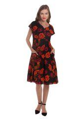 Robe d'été mi-longue Imprimée et Colorée Bétina Noire 281635