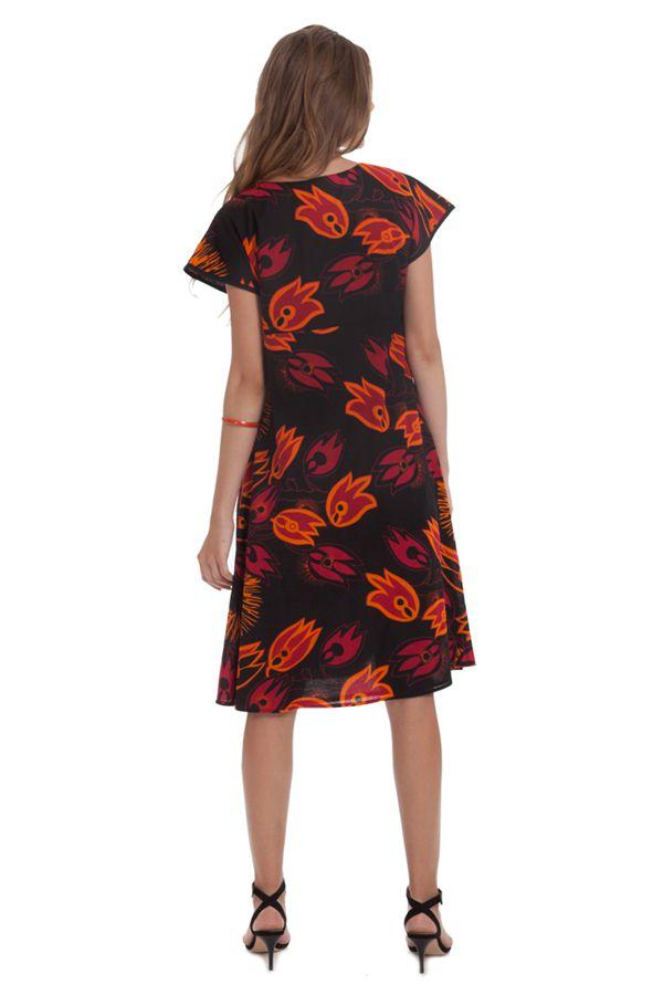 Robe d'été mi-longue Imprimée et Colorée Bétina Noire 281636