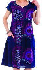 Robe d'été mi-longue Imprimée et Colorée Indigo Bétina 281640