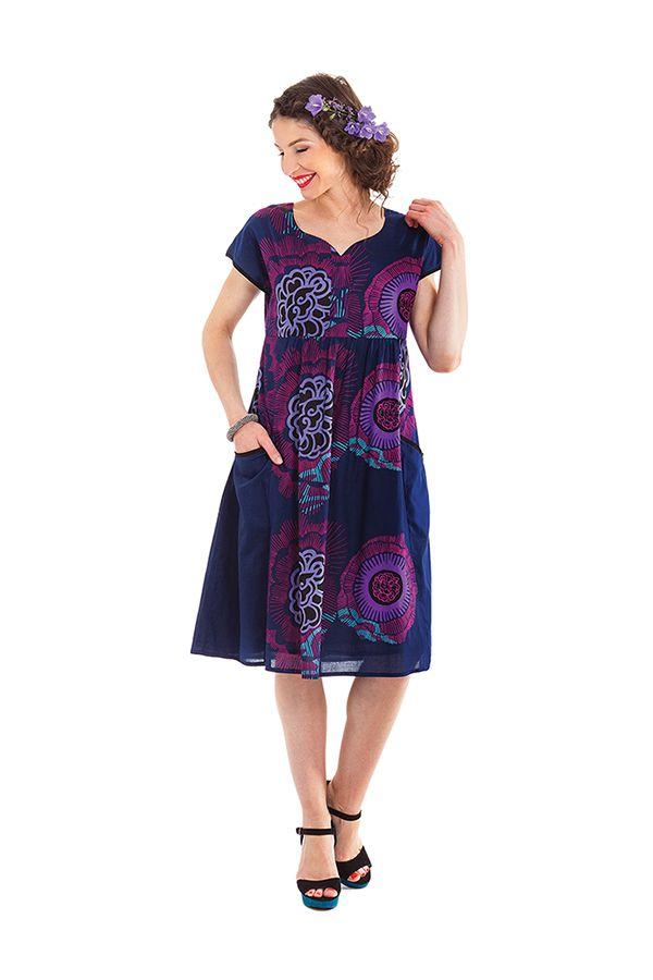 Robe d'été mi-longue Imprimée et Colorée Indigo Bétina 281641