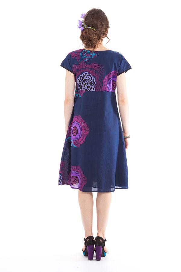 Robe d'été mi-longue Imprimée et Colorée Indigo Bétina 281642