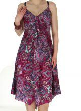 Robe d'été mi-longue Légère et Imprimée Balka Fushia 285056