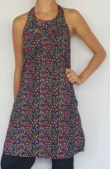 Robe d'été pas cher Originale à petit point multicolore sans manches Aly 302489
