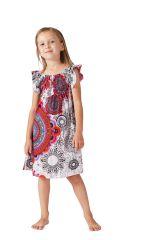 Robe d'été pour Enfant Blanche à Mandalas Colorée et Ethnique Nash 279864