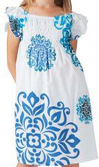 Robe d'été pour Enfant Blanche et Bleue Colorée et Ethnique Nash 279859