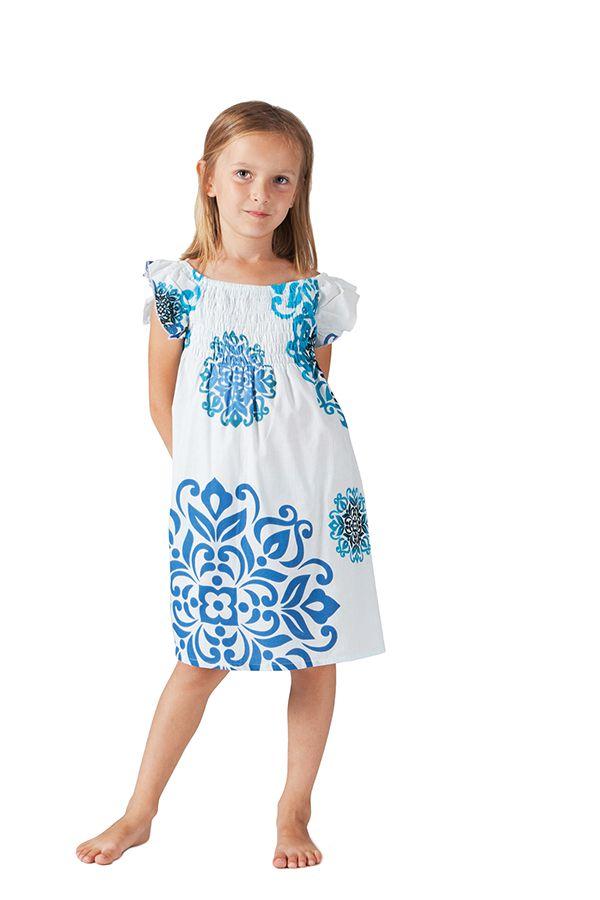 Robe d'été pour Enfant Blanche et Bleue Colorée et Ethnique Nash 279860