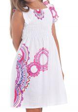 Robe d'été pour Enfant Ethnique et Colorée Nash Blanche et Rose 279901