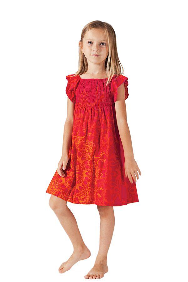 Robe d'été pour Enfant Ethnique et Colorée Nash Rouge et Orange 279872