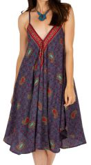 Robe d'été pour femme ample à col en V Bansang violette 314632
