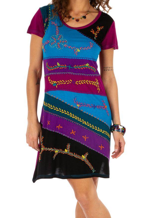 Robe d'été pour femme ethnique à manches courtes Awasa rose 314236