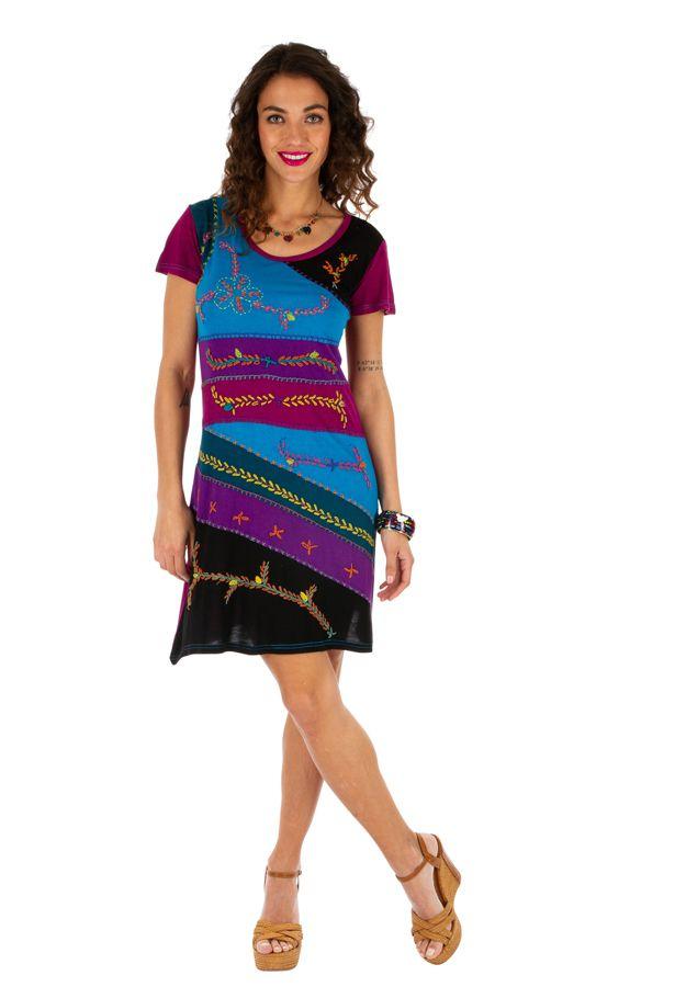 Robe d'été pour femme ethnique à manches courtes Awasa rose 314237