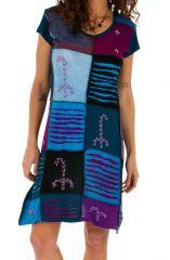 Robe d'été pour femme ethnique et colorée Jimma bleue 314221