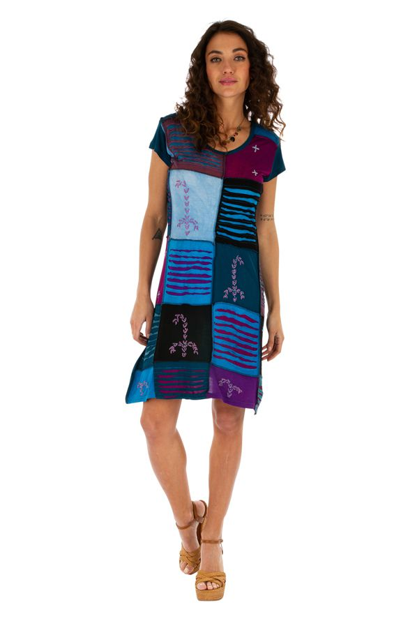 Robe d'été pour femme ethnique et colorée Jimma bleue 314222